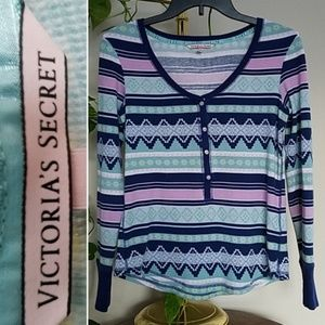 VICTORIA'S SECRET Top Thermal Blue & Pink sz S
